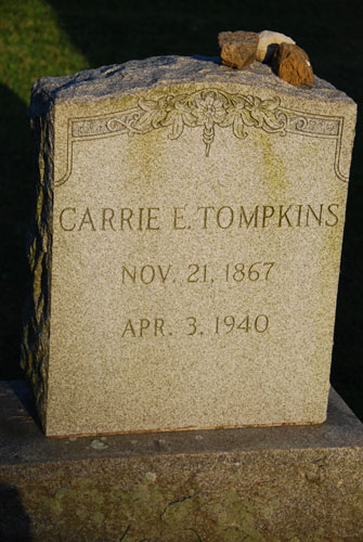 This is the gravestone of Carrie E. Tompkins, who was a teacher in the Croton schools from 1886 to 1929. The elementary school was named in her honor.