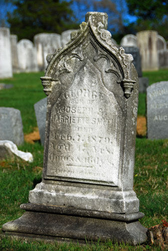 The Gothic Revival period became popular in America around 1840, especially here in the Hudson Valley, with the work of architects like Alexander Jackson Davis, who designed Lyndhurst in Tarrytown. The pointed arch, a major design theme of the period, appeared on numerous gravestones.