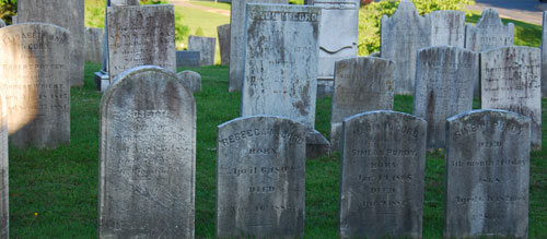 An American colonist, reincarnated and walking through the streets of Croton today, would be hard put to find anything he recognized except the old Village burying ground. There he would see stones he knew, still grouped by family and bearing familiar names and verses.    What is the meaning of the designs carved on gravestones? This question is often asked by both the interested layman and the serious student of gravestone art. A great deal of casual speculation and scholarly research has been devoted to finding answers.