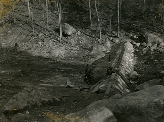 Construction of the dam at Silver Lake in 1961.