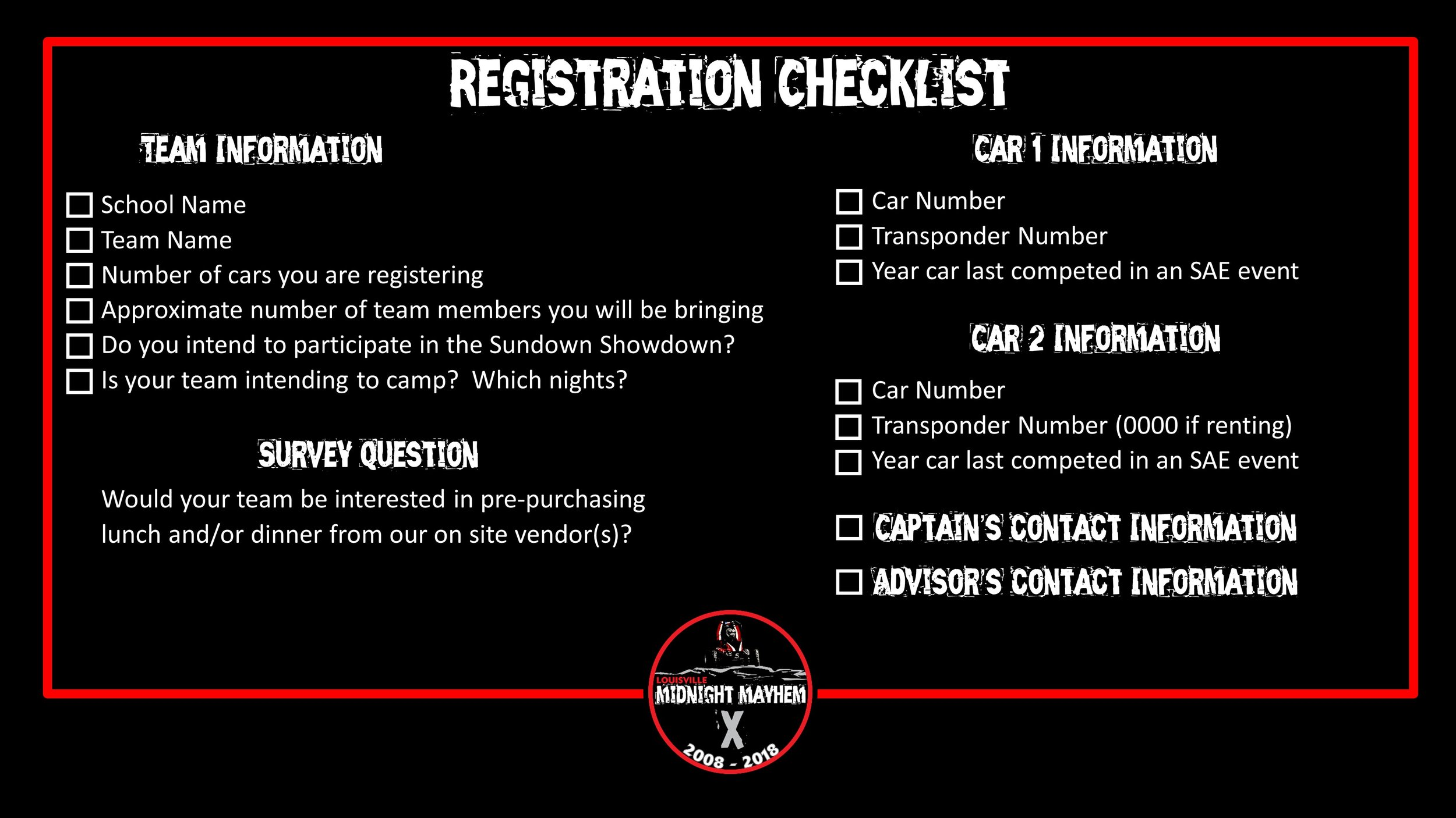 Louisville Midnight Mayhem X Registration Checklist
