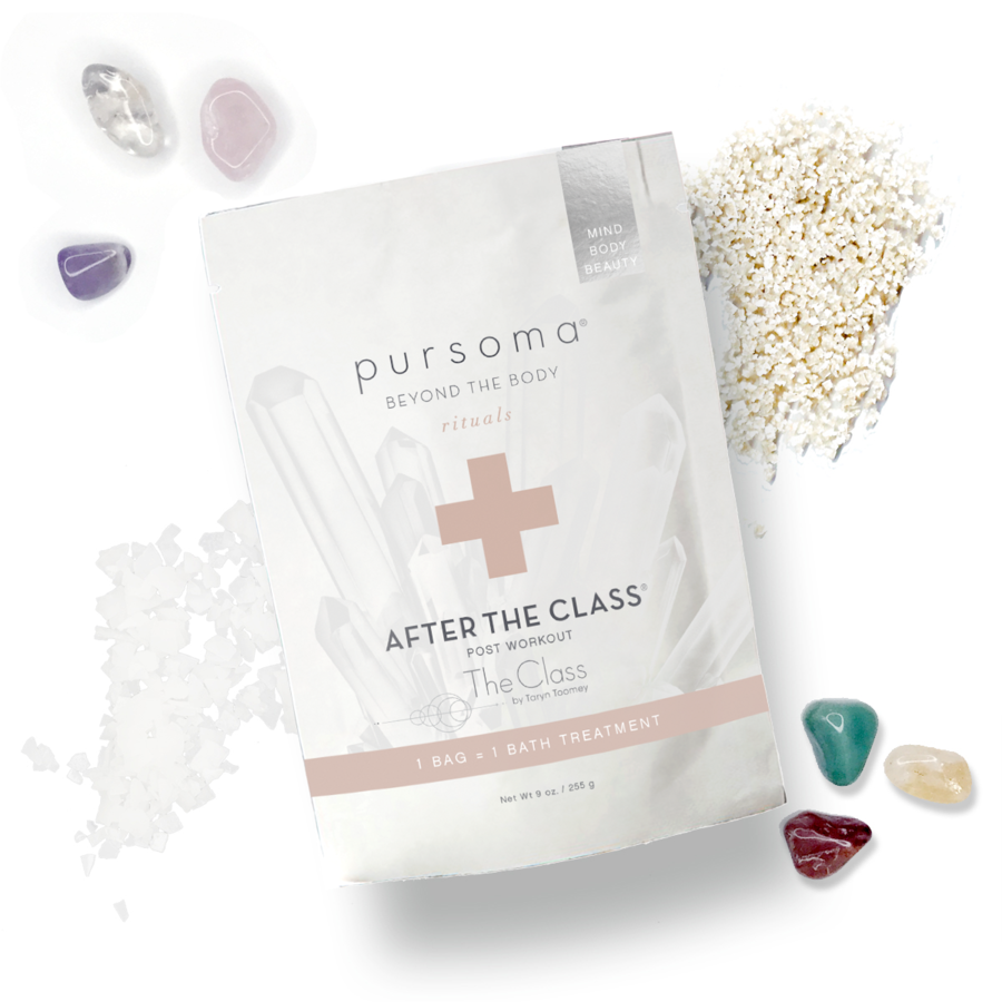 THE POST-WORKOUT SOAK - Give your aching muscles some stress-release with these rejuvenating bath salts. Self-care, sorted. Pursoma 'After the Class' bath soak, 29€Image: pursoma