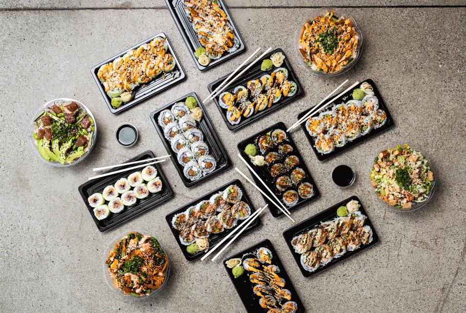 arrangement of different sushi rolls