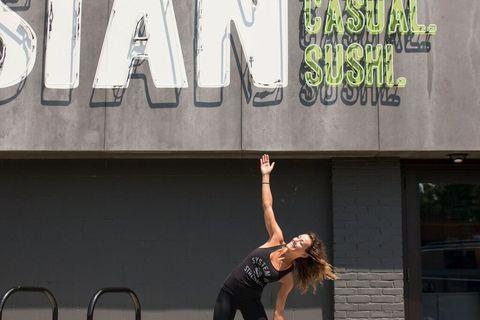 doing yoga outside of Fusian