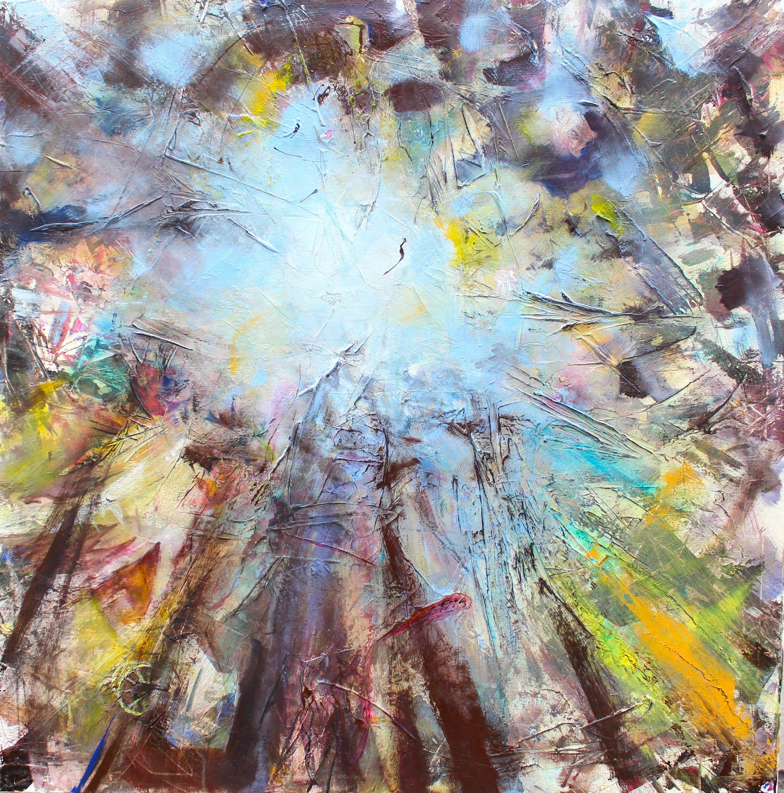 Ein Stück vom Himmel,2016,Acryl/Öl,100x100