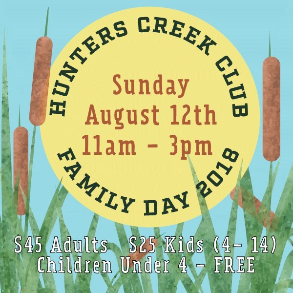 Come celebrate 60 years of Hunters Creek Club. We'll have phenomenal food, games, crafts, shooting and fishing for the whole family. Please give us a ring to RSVP.