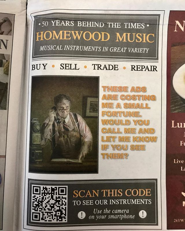 I like the way Bob is advertising our shop in the paper these days.