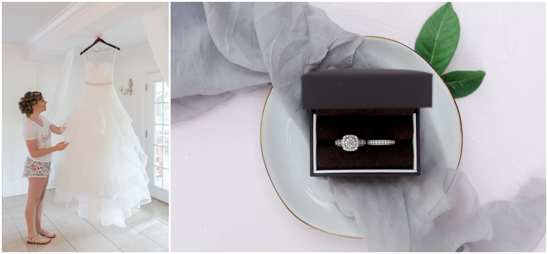 bride wedding dress and wedding rings