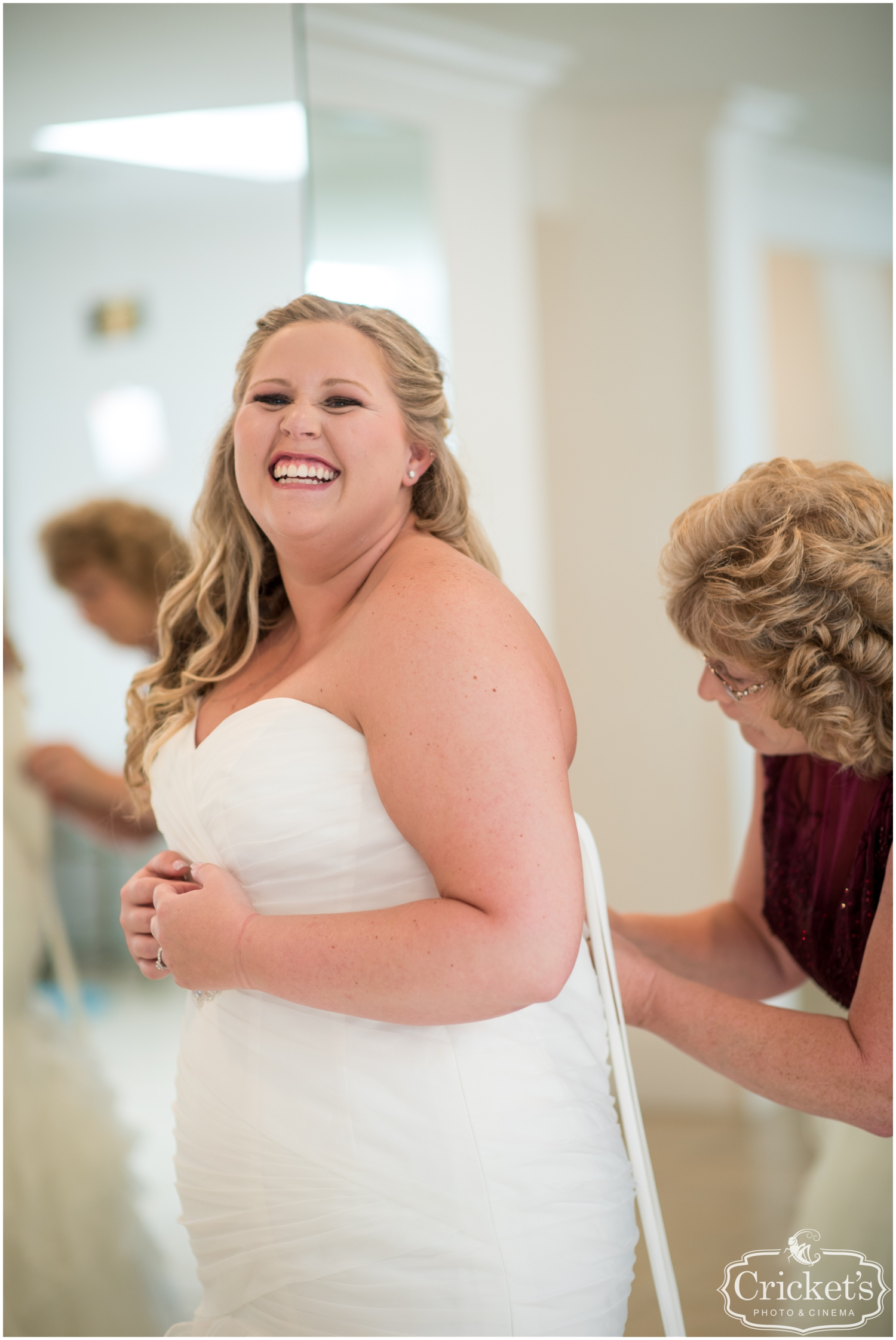 Bride smiling before her wedding