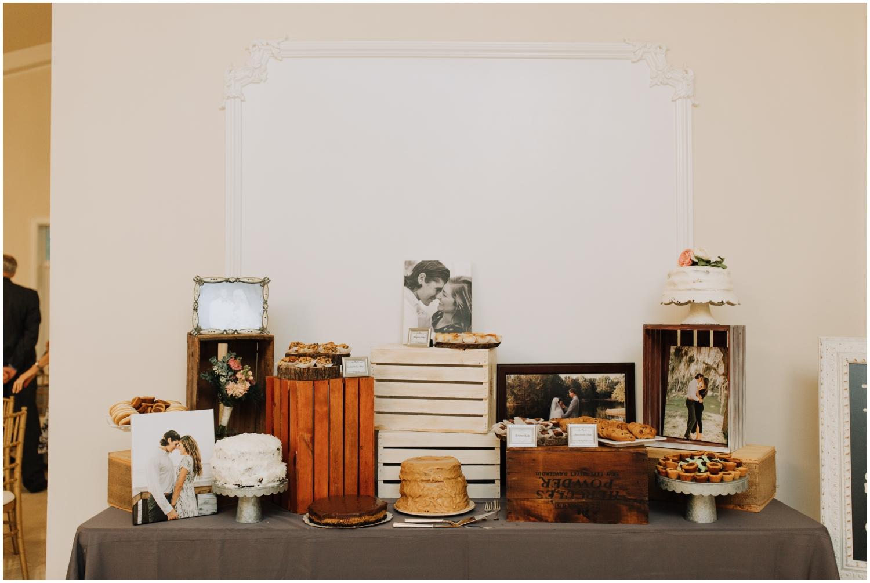wedding cake display table with memories