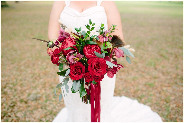 Bride holding her bridal bouquet