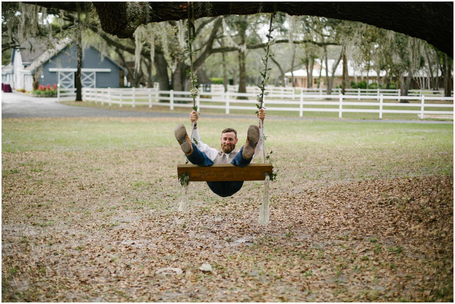 Groom being silly at his Florida wedding