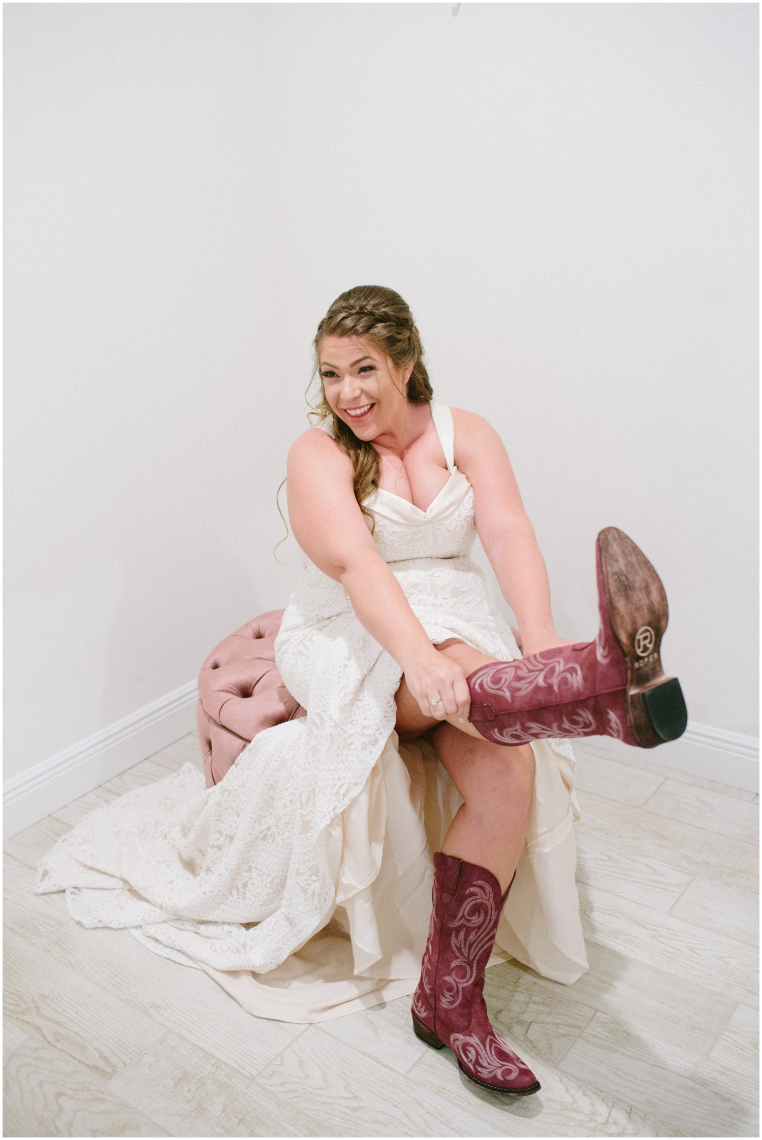 Bride wearing her cowgirl boots