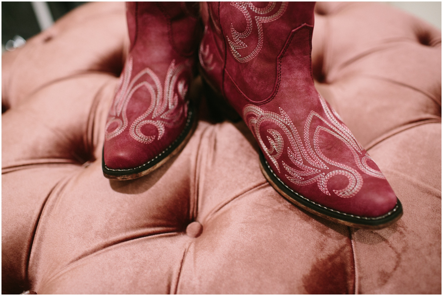 Bride's red cowgirl boots