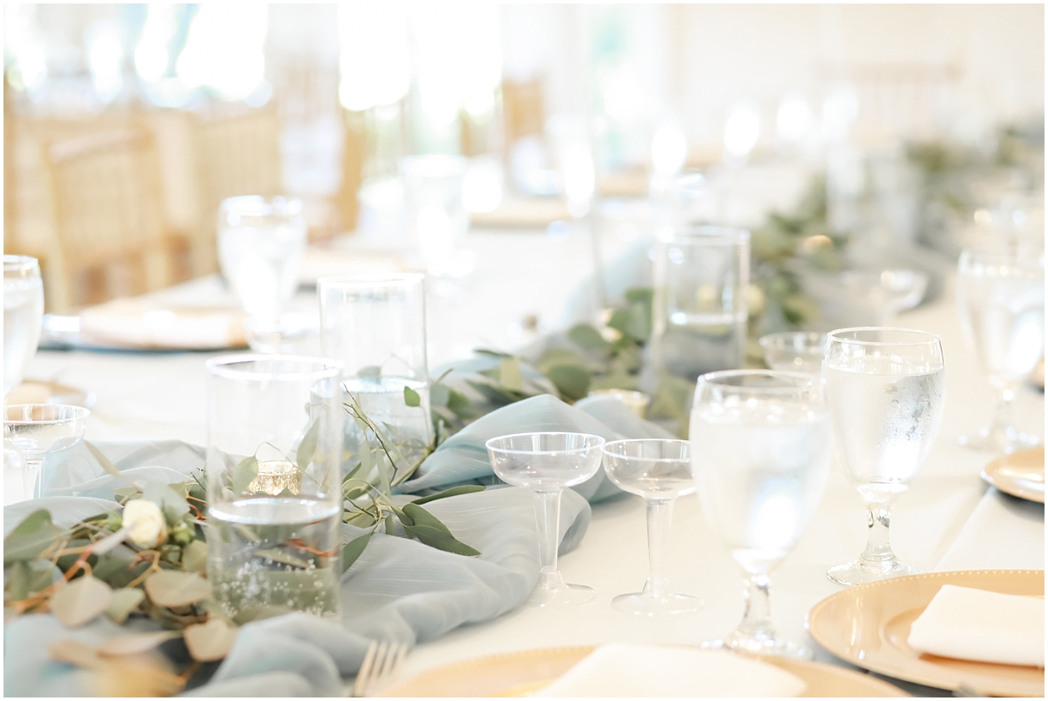 greenery and baby blue wedding centerpiece