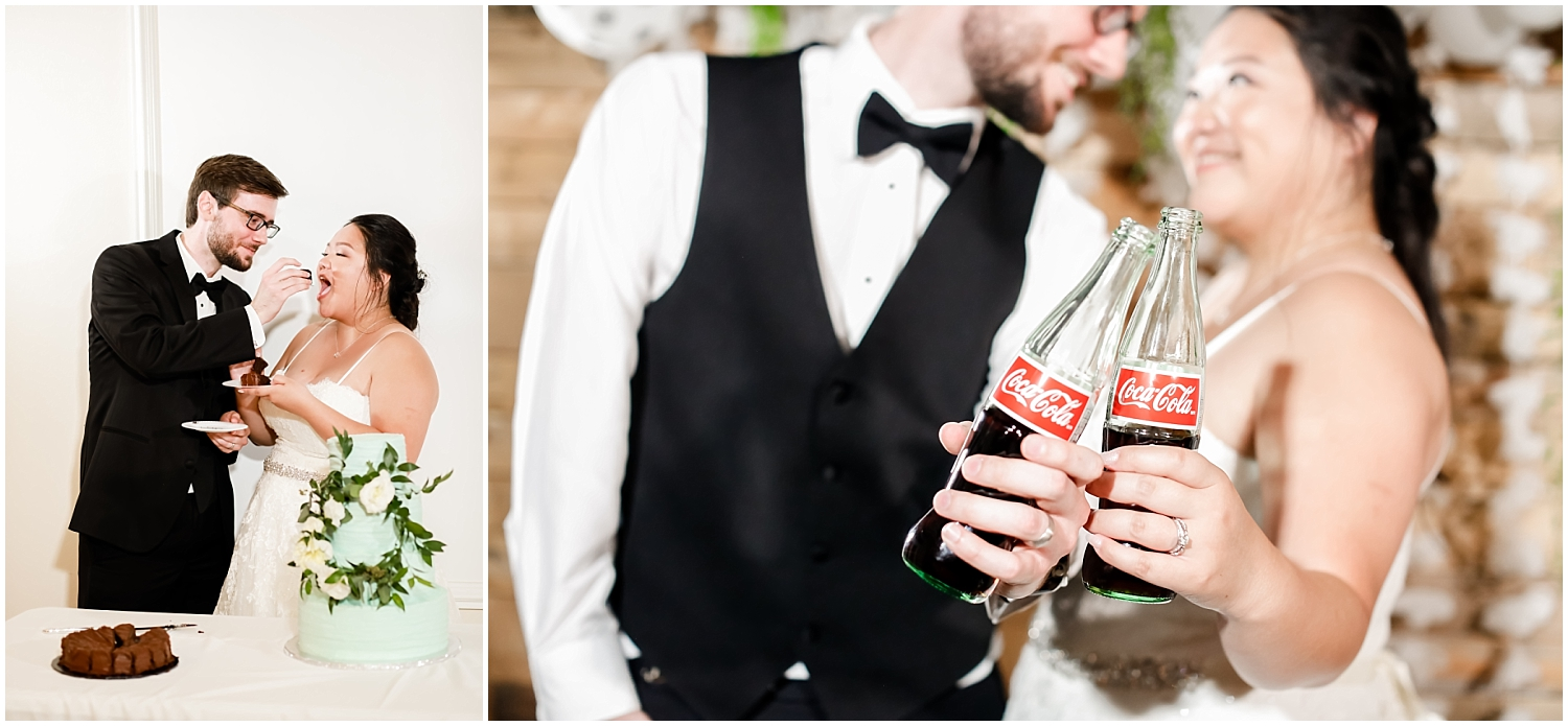 bride and groom eating cake and drinking coca cola