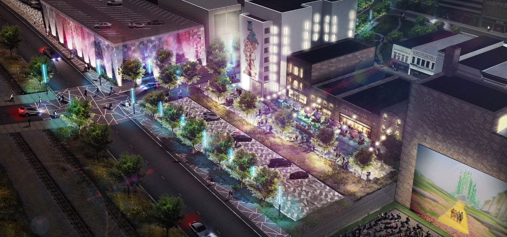 """Image of """"Back Porch"""" concept area at Ramseur/Corcoran Streets from SmART Vision Plan. © 2017 Olalekan Jeyifous. All Rights Reserved"""