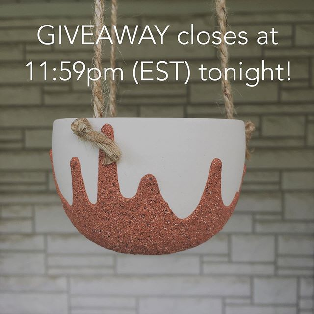 Just a few hours left to enter the GIVEAWAY! Check out my giveaway post to enter to win. • • • • #ragpottery #pottersofinstagram #pottery  #ceramics #hangingplanter #makersgonnamake #handmade #handcrafted #artisan #porcelain #handmadepottery #functionalpottery #ohiocreative #ohiomade #handmadeinohio #ceramicplanter #handpainted #duncanceramics #houseplants #indoorplants #succulentlove #plantlove #crazyplantlady #giveaway #potterygiveaway #elyriaohio