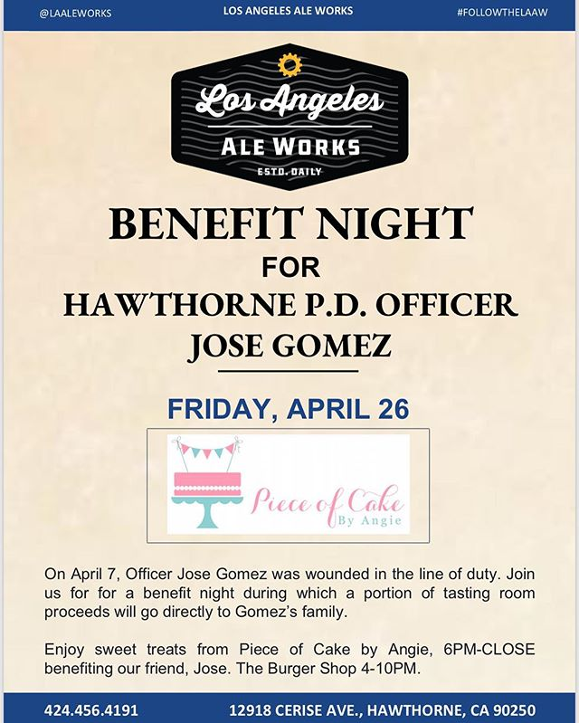 🖤💙🖤 Thank you @pieceofcakebyangie and @laaleworks for putting this fundraiser together for Officer Gomez. This truly means the world to @lhim_inc because he is one of our volunteers, when he can and has the time aside from work he hasn't hesitated to help us out on our non profit events. Unfortunately Officer Gomez was shot as he was doing his job last week thankfully he is okay and recovering at this point. Please join us on April 26 2019 after 4:30pm at Ale Works in the city of Hawthorne 🖤 #Aleworks #pieceofcakebyangie #cakes #cupcakes #fundraiser #policeofficer #lawenforcement  #thinblueline
