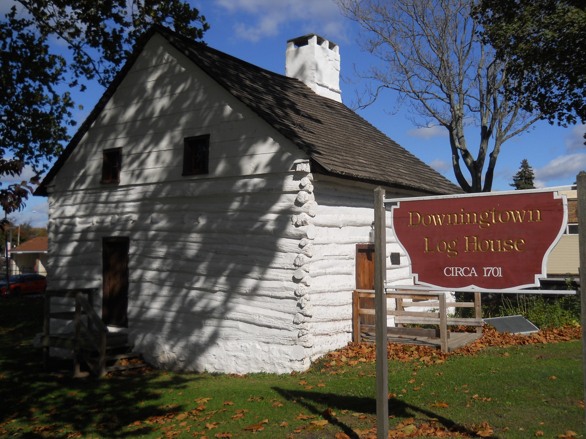Historic Downingtown Log House, within Lancaster Avenue bridge project area