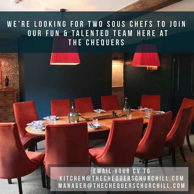 Love cooking great food and looking for a new opportunity? We're on the hunt for two sous chefs to join the fun and friendly team so get in touch if you'd like to hear more. . . . #souschefs #recruiting #newcareer #opportunities #cotswoldjobs #cheflife #jointhecrew #countrycreatures #thechequerschurchill