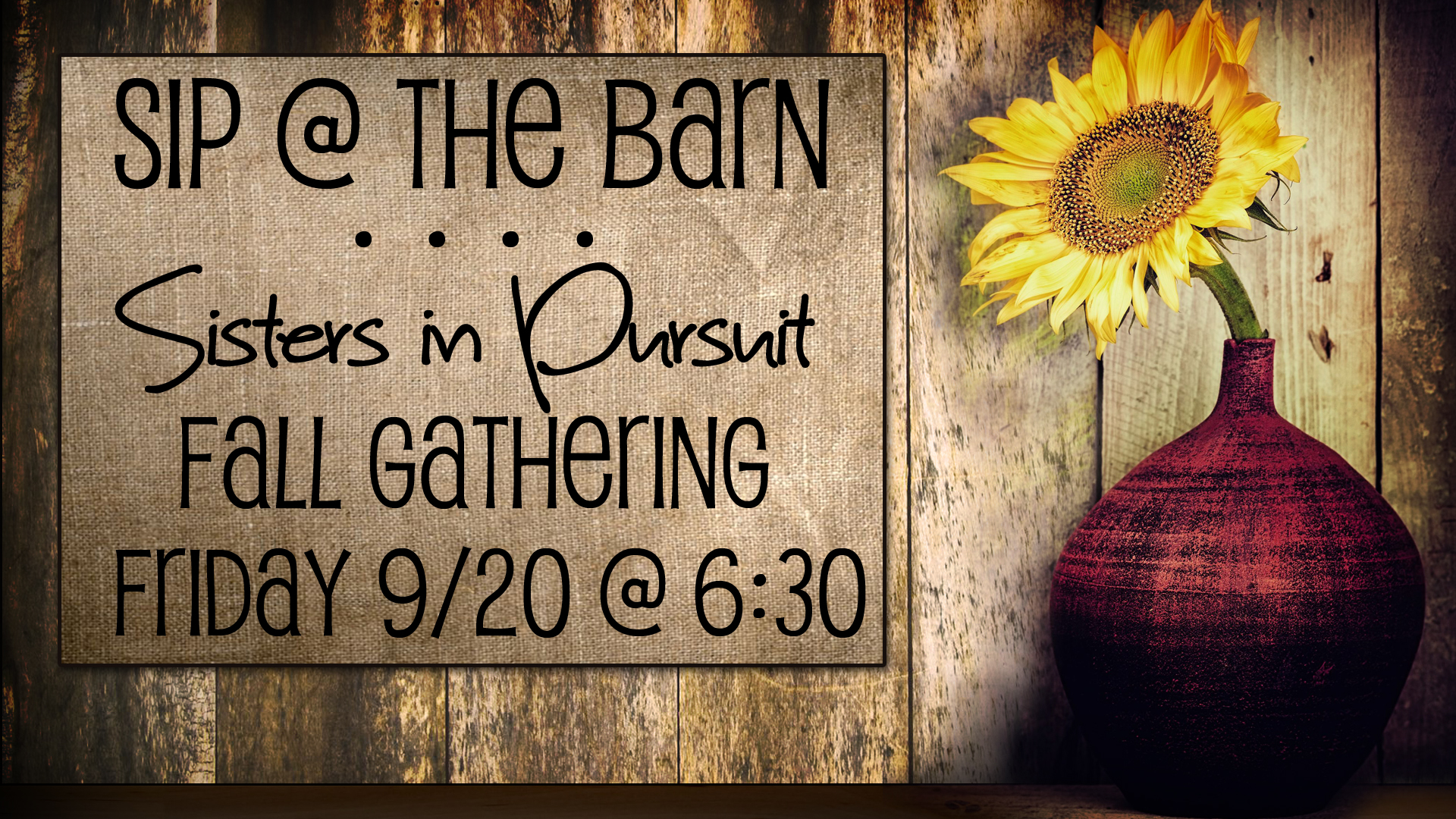 All ladies are invited to this special event! - Food, friendship, worship & the Word of God!Worship: Allison Thomas ~ Special Speaker: Pam BielLocation: Big Oak Meadows (7266 Hayes-Orangeville Rd., Burghill, OH)Cost of $10 includes:Meal with dessert, cider, coffees and a whole evening with your sisters!Deadline to Register: 4pm Monday, Sept. 16Questions? Call Michelle @ 330.240.3945