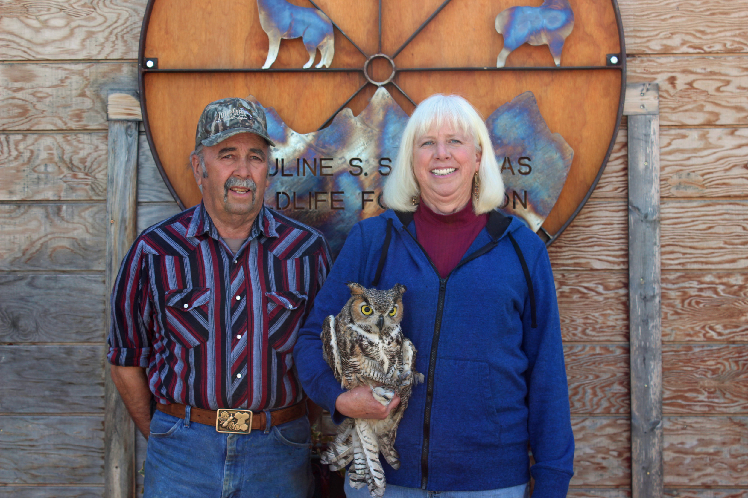 Nanci Limbach - Nanci founded PSSWF, and has donated her time to the Foundation since it began. She is a Certified Veterinary Technician and maintains her teaching certificate and is a licensed wildlife rehabilitator in the state of Colorado. She teaches a class on wildlife management for Colorado Mountain College's Vet Tech program. She is pictured here with her husband, Paul, and former educational owl Gandalf.