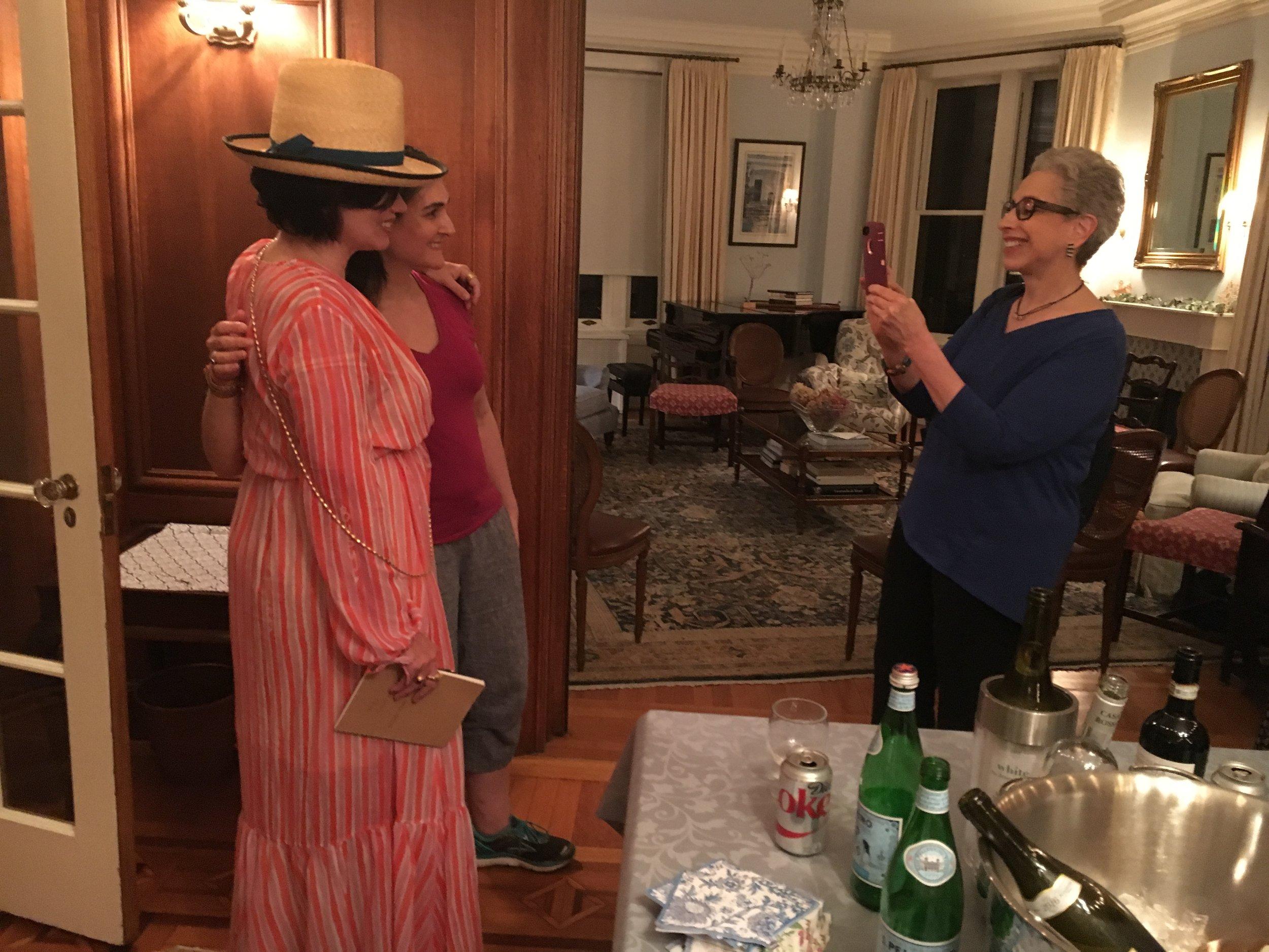 Karen Duffy (BACKBONE) poses with a fan