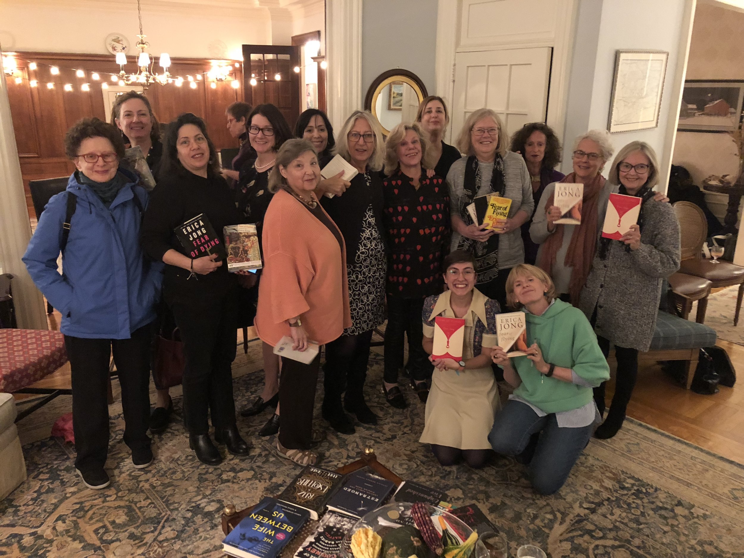 Erica Jong at her book group for FEAR OF FLYING.