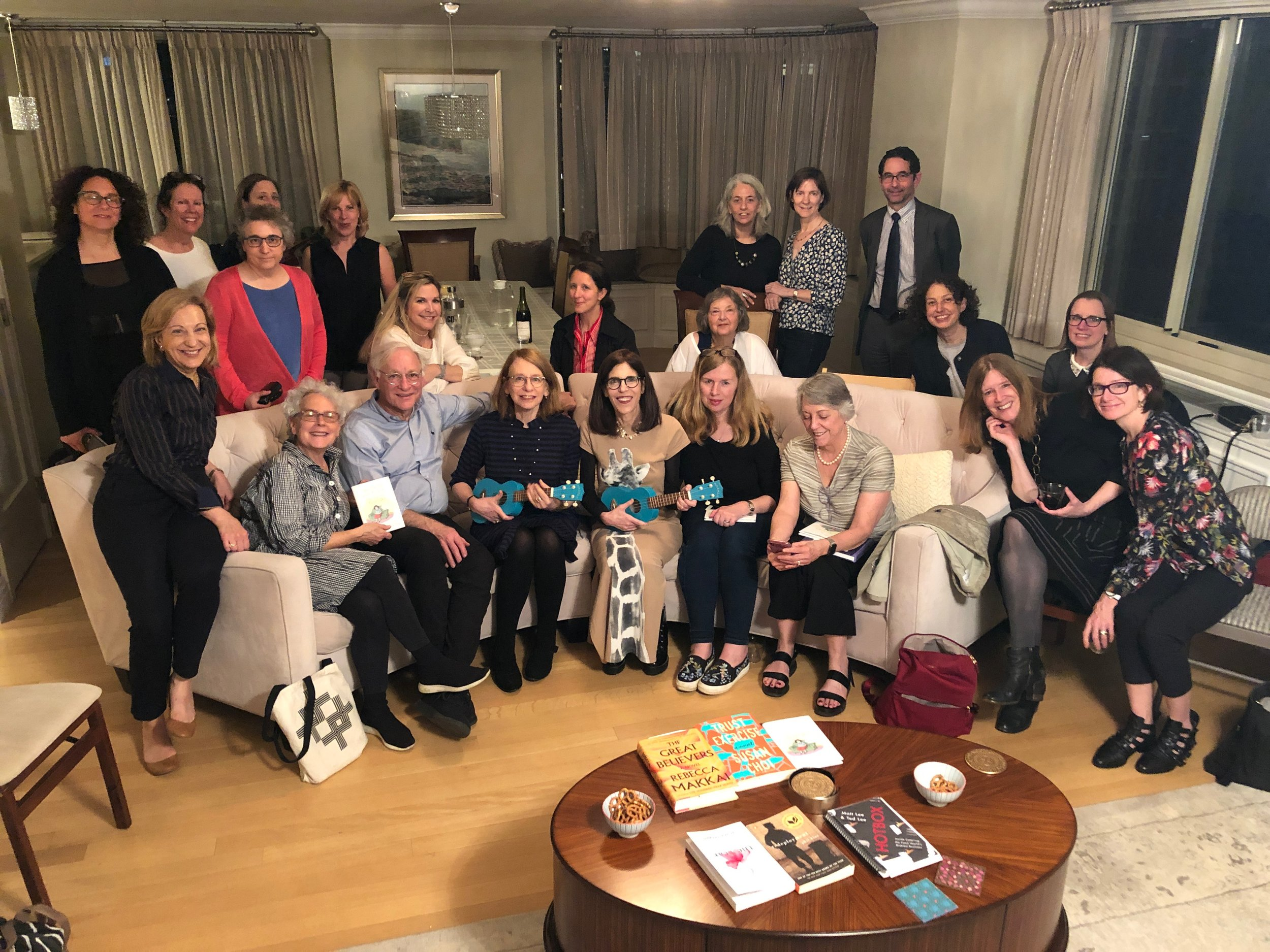 Roz Chast and Patty Marx, with ukuleles, at their book group for WHY DON'T YOU WRITE MY EULOGY NOW SO I CAN CORRECT IT?