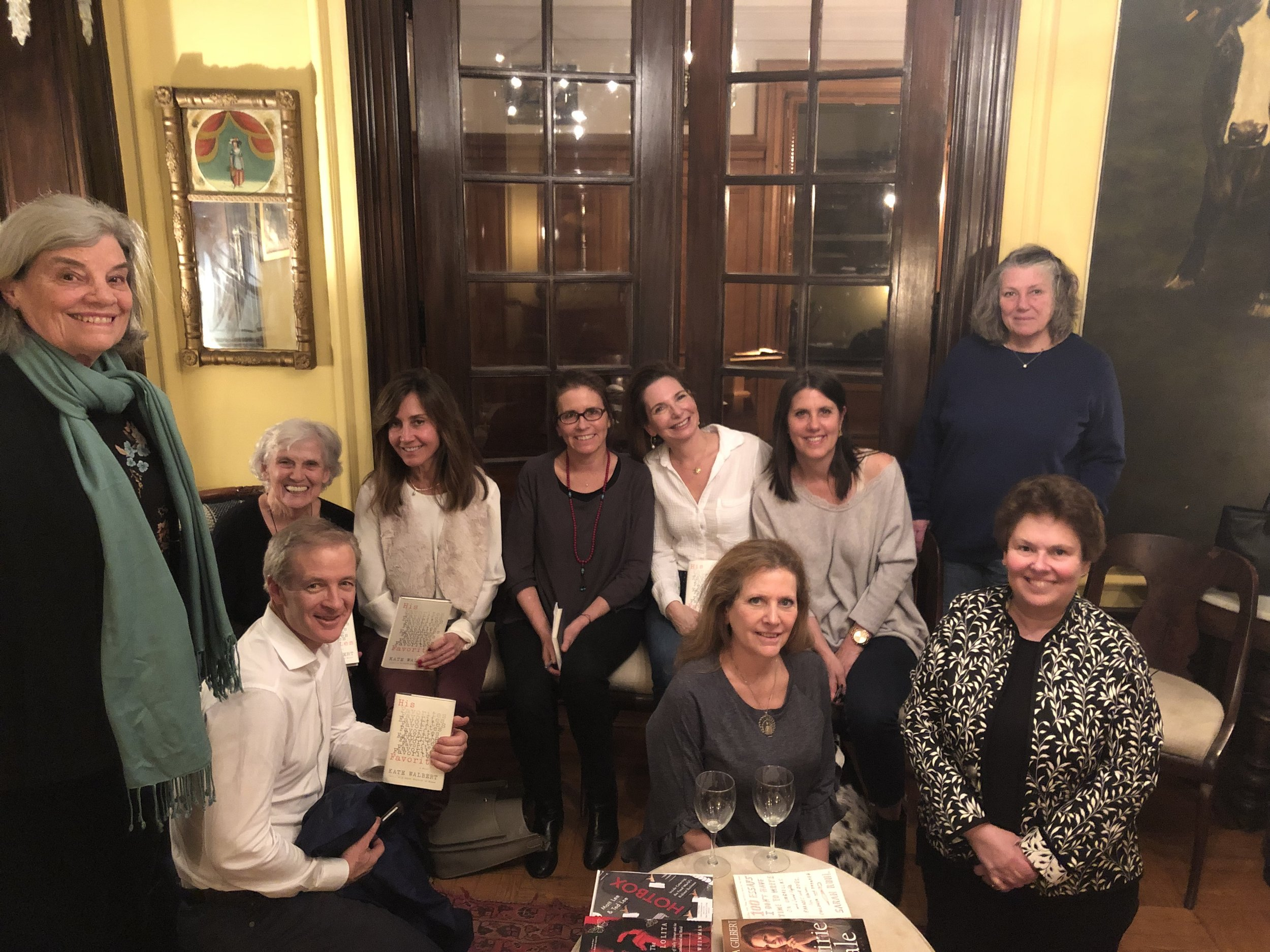 Novelist Kate Walbert at her book group for HIS FAVORITES