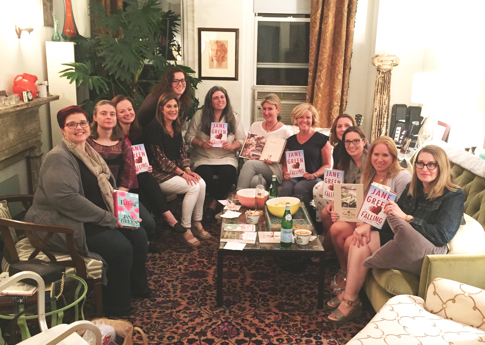 Novelist Jane Green with a group of fans