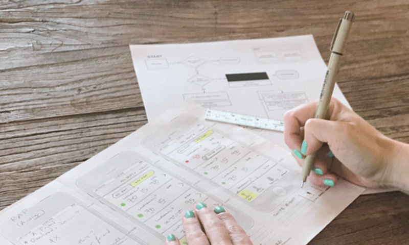 wireframes showing User experience and user interface (UI) design