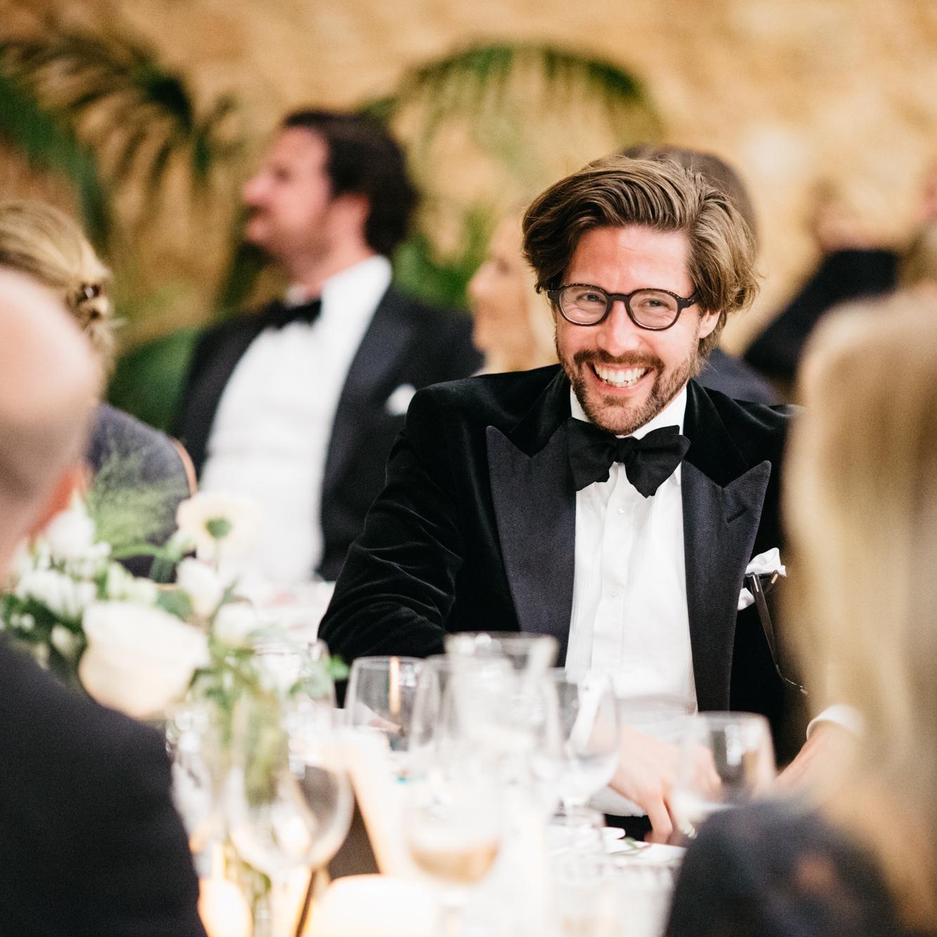 Götrich co-owner Simon Berg in a black velvet dinner jacket with peak lapels and grosgrain facings.