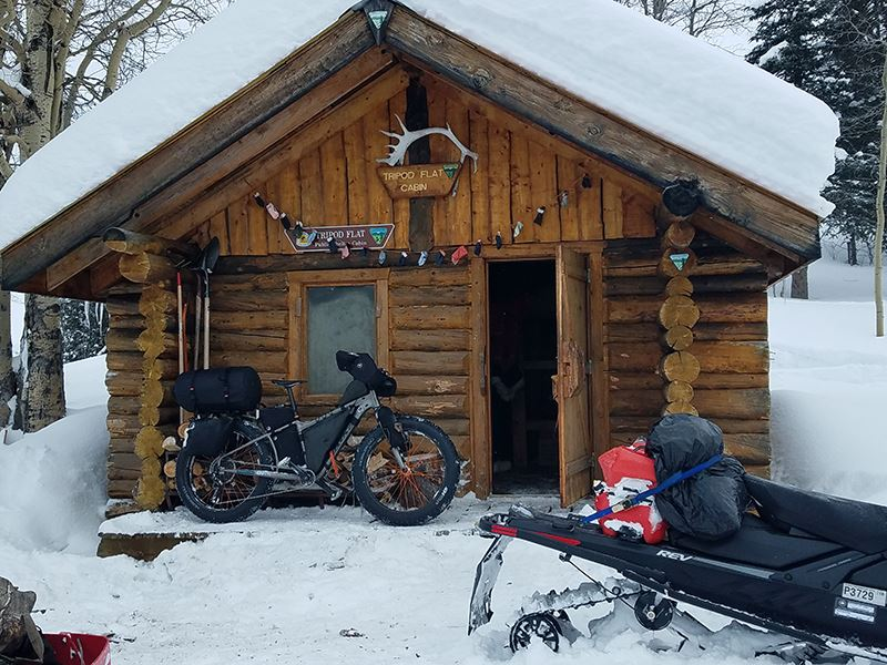 Jay;s bike outside a shelter cabin on the Iditarod Trail this week.
