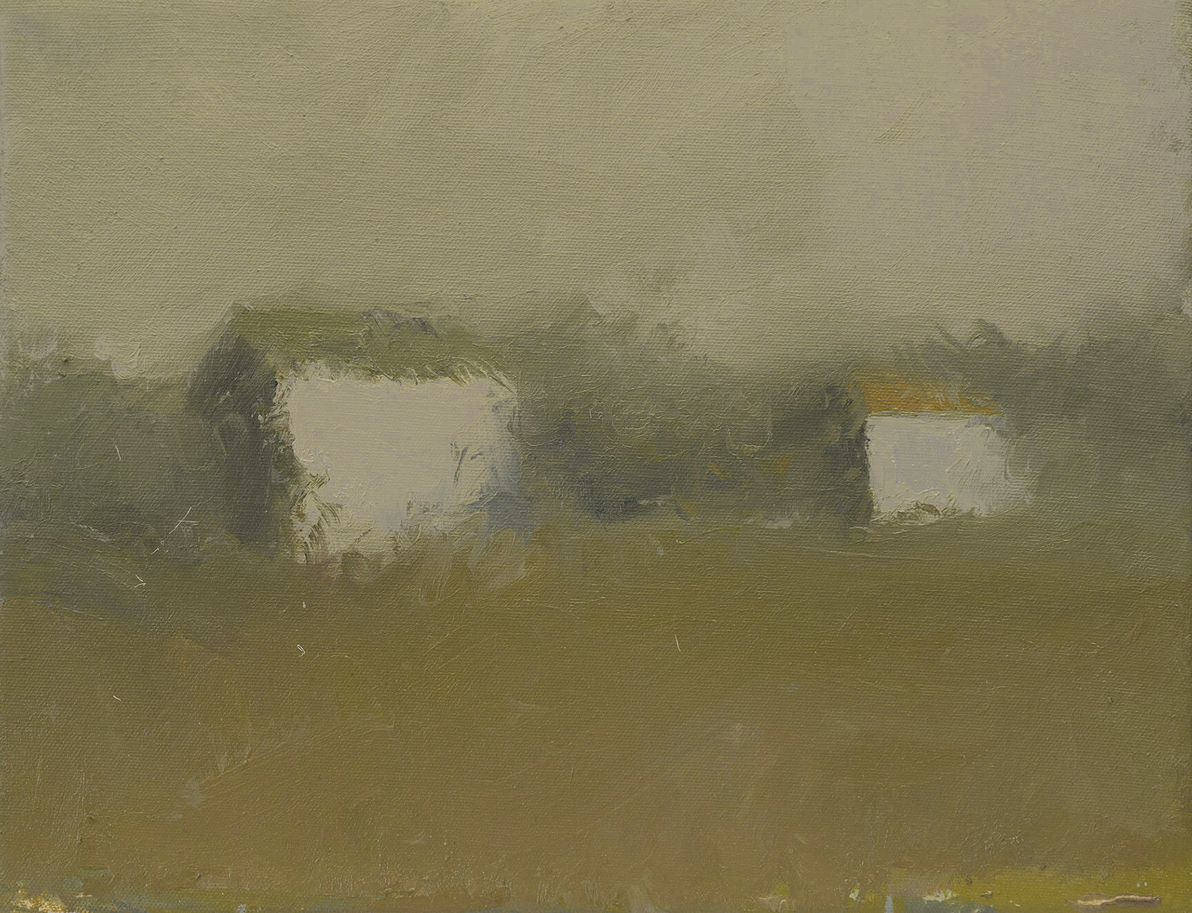 Farm Sheds,  11 x 14 inches, Oil on Canvas