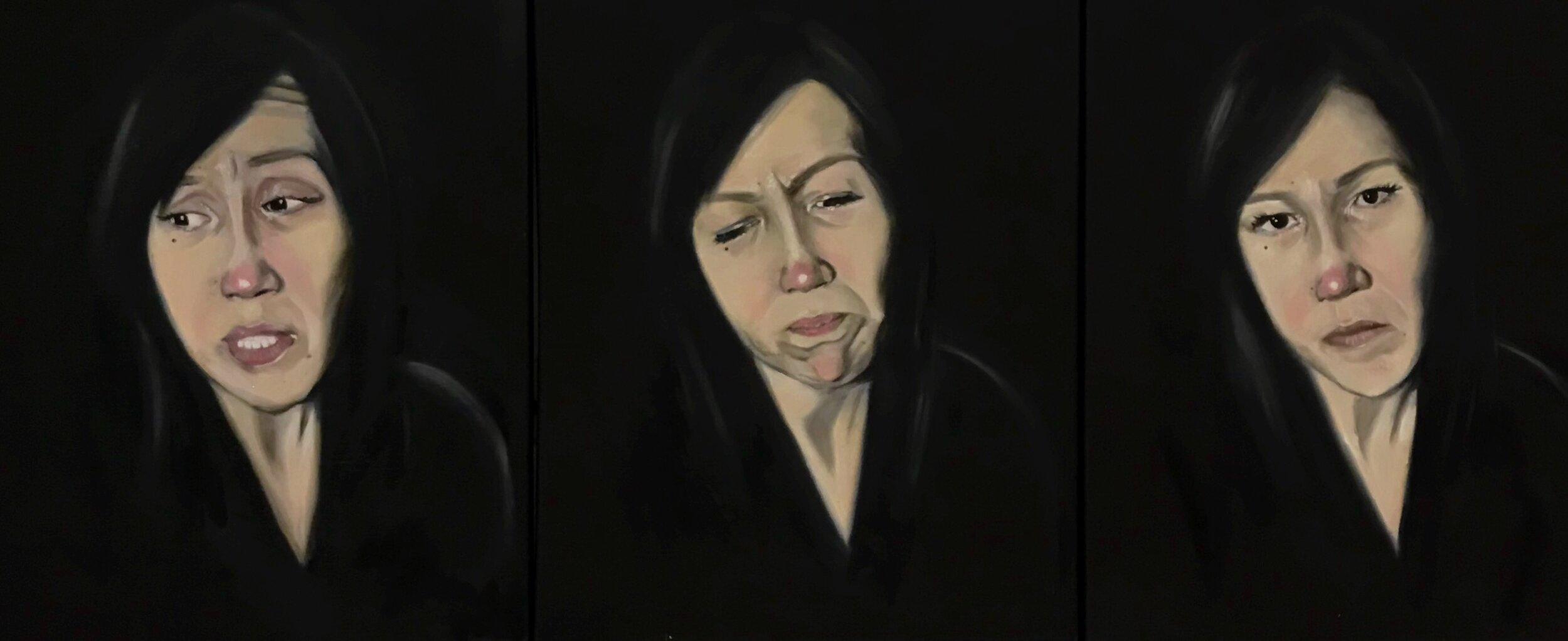 """""""Atausiq"""" oil on canvas; 18 x 24 in (x3) (2017)"""