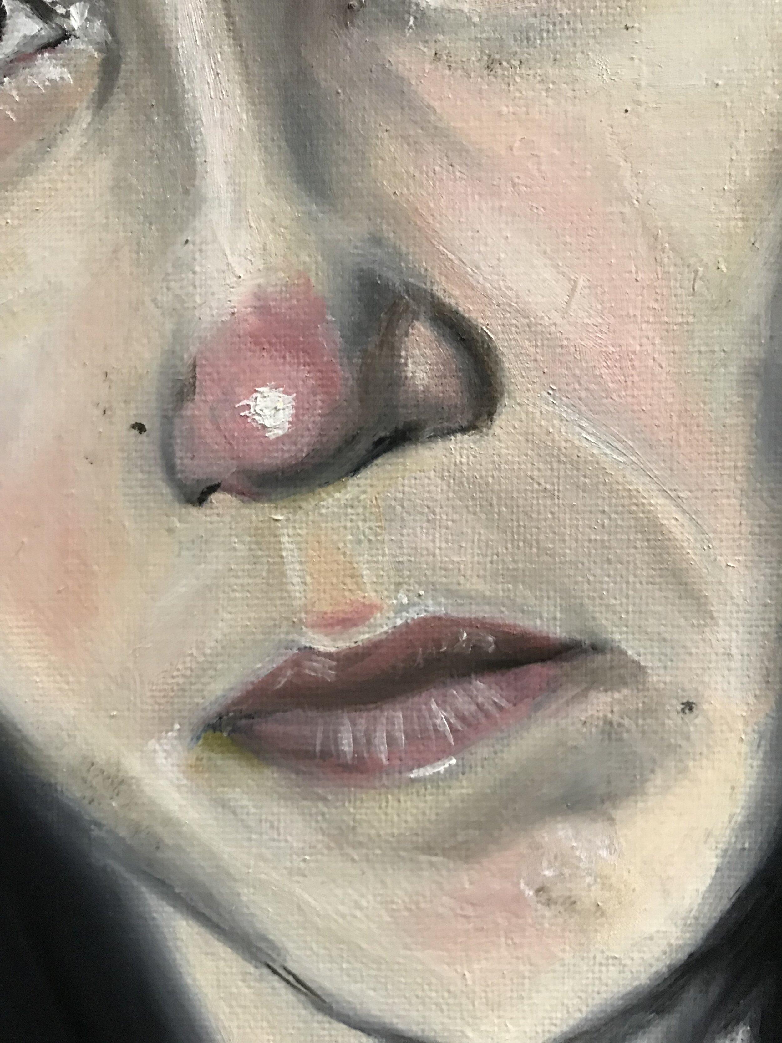 "[Detail] ""Atausiq"" oil on canvas; 18 x 24 in (x3) (2017)"