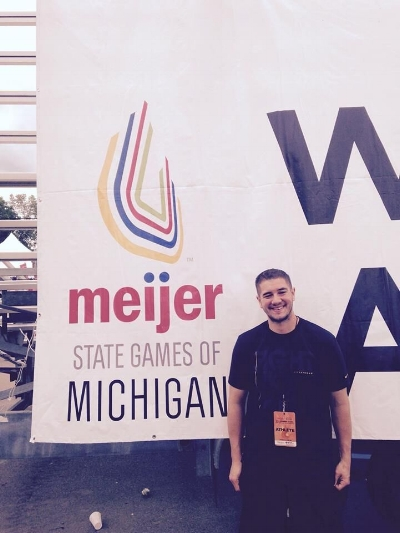 Justin at the Meijer State Games of Michigan 2015. Courtesy of Justin Caine.