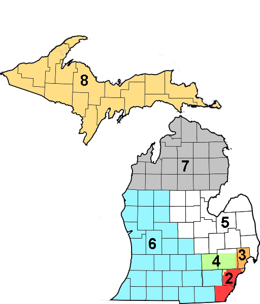 Team Districts - Tryouts will be held and teams formed based on the 7 districts shown. The districts are based on MAHA's districts with changes made to Districts 7 and 8 to put all counties in the Upper Peninsula on one team.