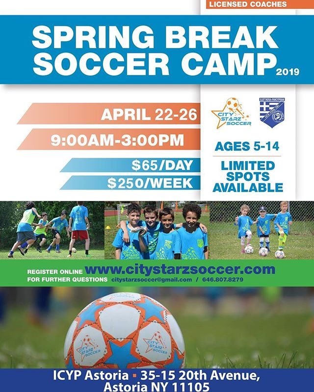 Say no to video games and yes to soccer. Spring Break Clinic just a couple weeks away! Sign up soon to reserve your spot. Limited space available. #astoriaqueens #queenskids #soccer #queensny #soccerclinic
