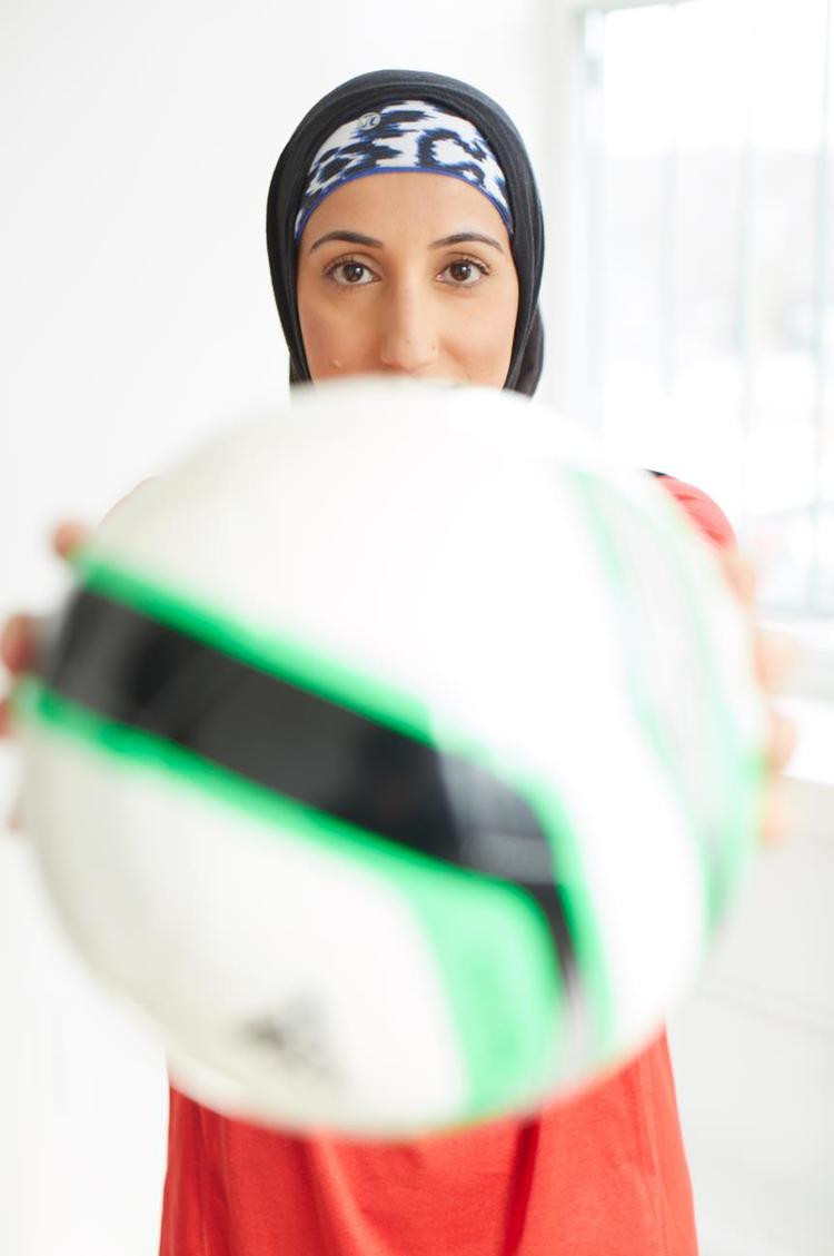 Shireen Ahmed's blog:   Tales from a Hijabi Footballer.  Photo by Michael Alberstat