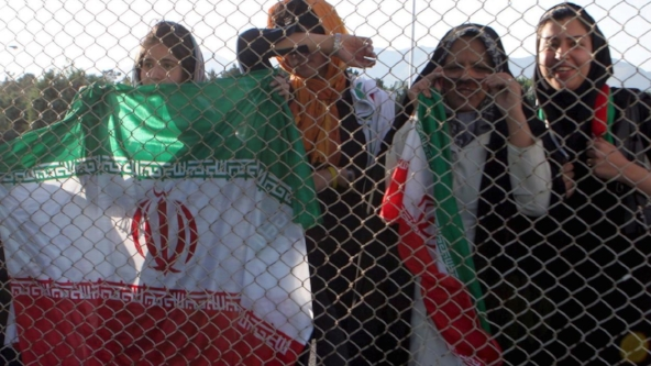 """""""Stadiums Are Still Closed to Women in Iran."""" In April, Iran announced that it would allow women to enter sports stadiums, reversing a ban in place since 1979. But women are still being barred from games, and there is still work to be done. By Shireen Ahmed. October 5, 2015. Vice Sports."""
