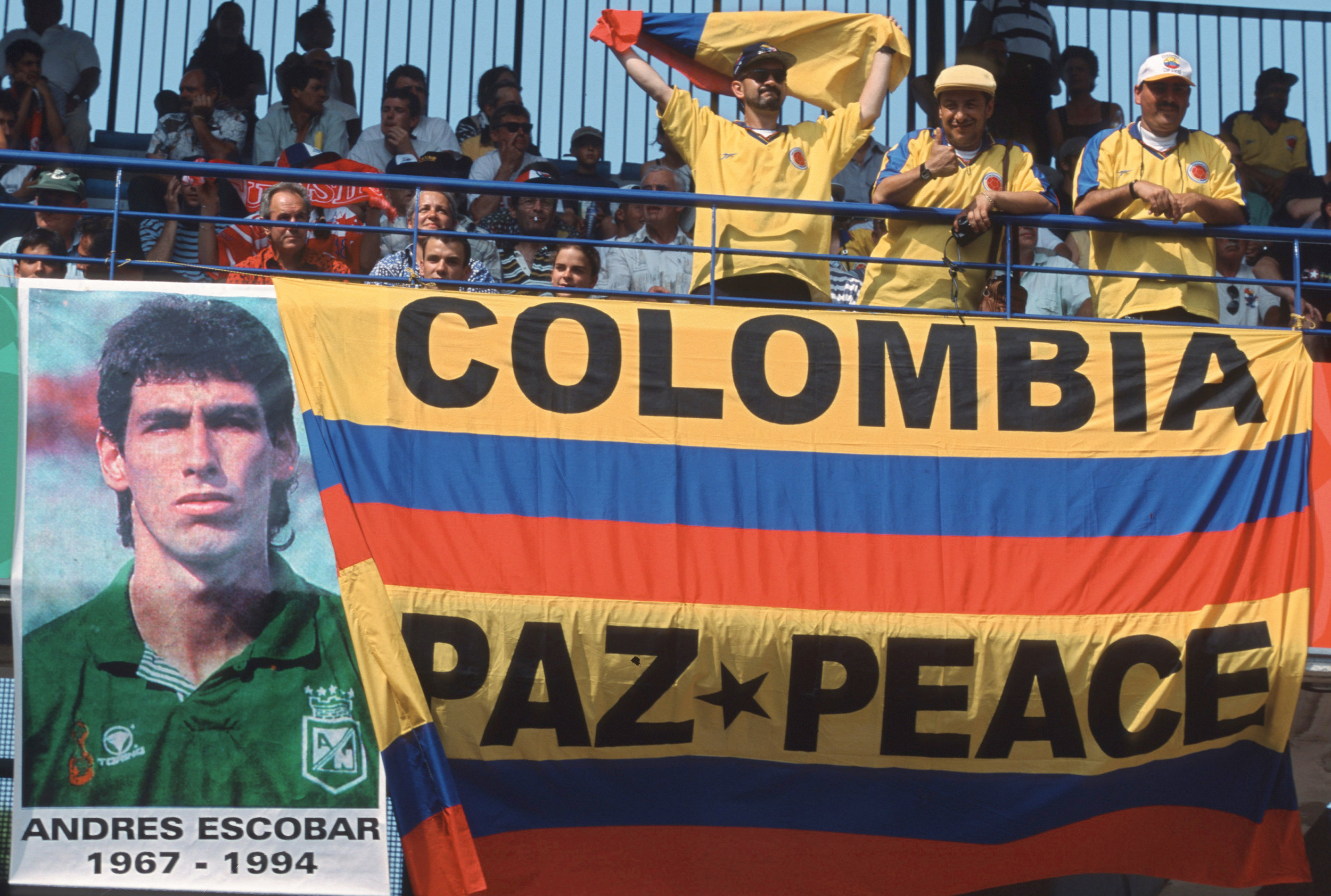 Colombia fans pay tribute to Andrés Escobar during a 1998 World Cup match between Colombia and Tunesia in Montpellier, France. Photo by Alexander Hassenstein.