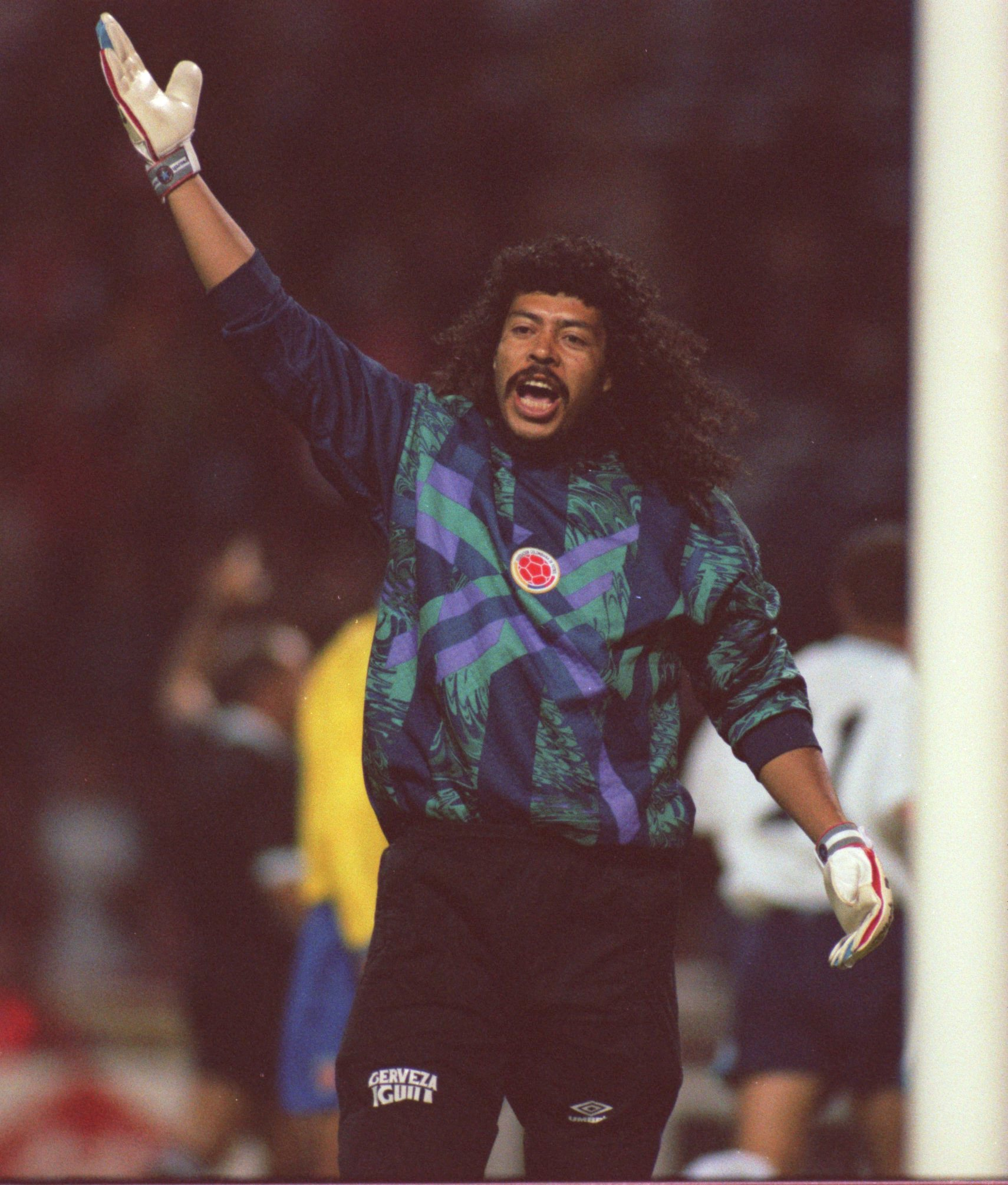 Colombian goalkeeper Réne Higuita during a 1995 match at Wembley Stadium in London. In the early 1990s, Higuita played at the private prison Pablo Escobar built for himself in Colombia. Check out his famous scorpion kick by clicking on the photo above. Photo by Mark Thompson/ALLSPORT.
