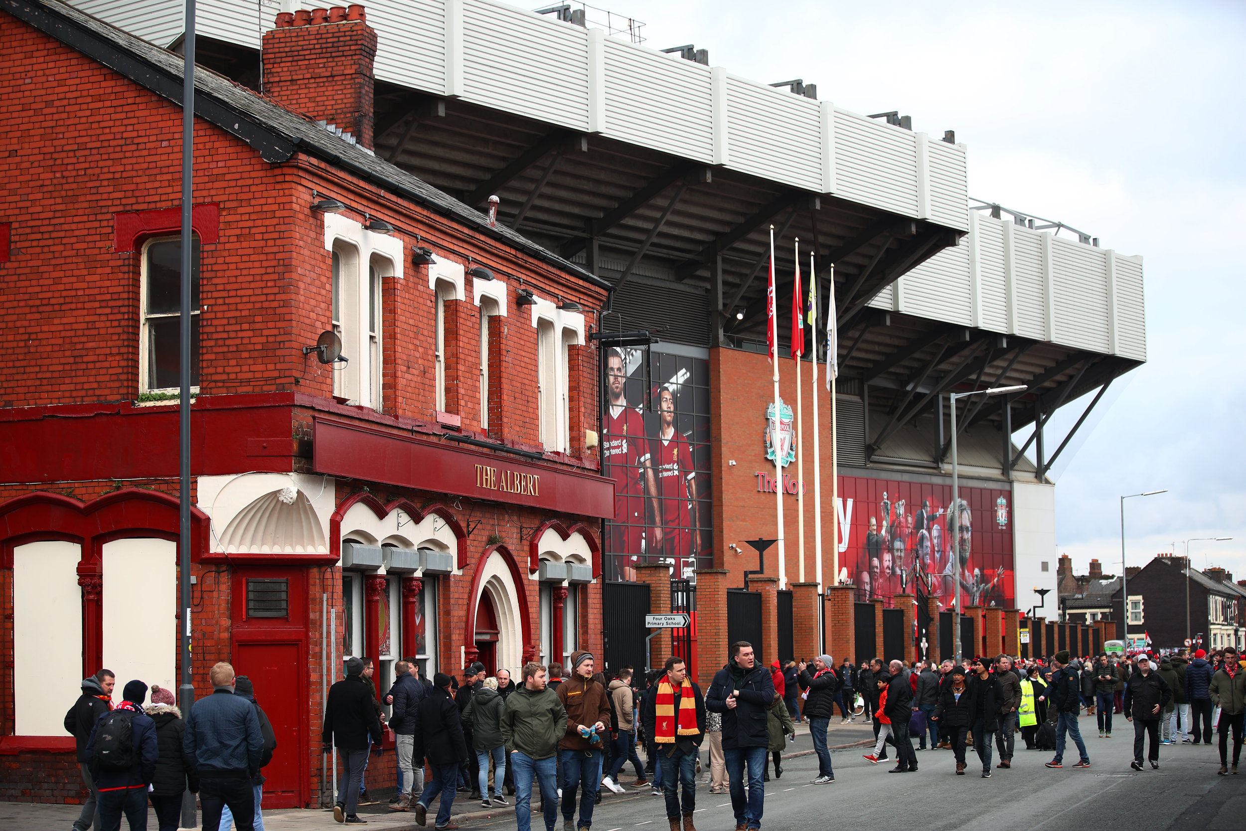 The exterior of Anfield Stadium today