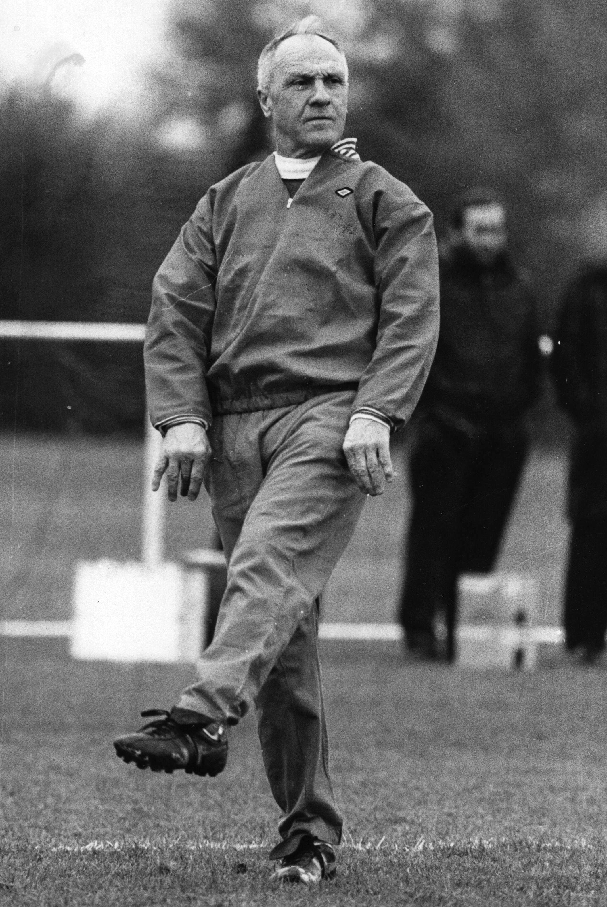 """Bill Shankly practices his """"Wembley Walk."""" The Scottish football player and former manager of Liverpool FC was an instrumental figure in Liverpool's football past and present. Photo by Evening Standard/Getty Images"""