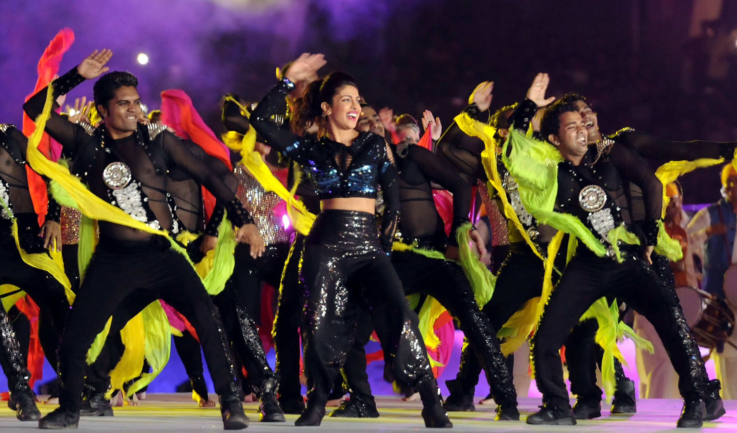 Bollywood actor Priyanka Chopra and her dance troupe performed during the ISL opening ceremony in 2014. Photo by Subhendu Ghosh/Hindustan Times via Getty Images