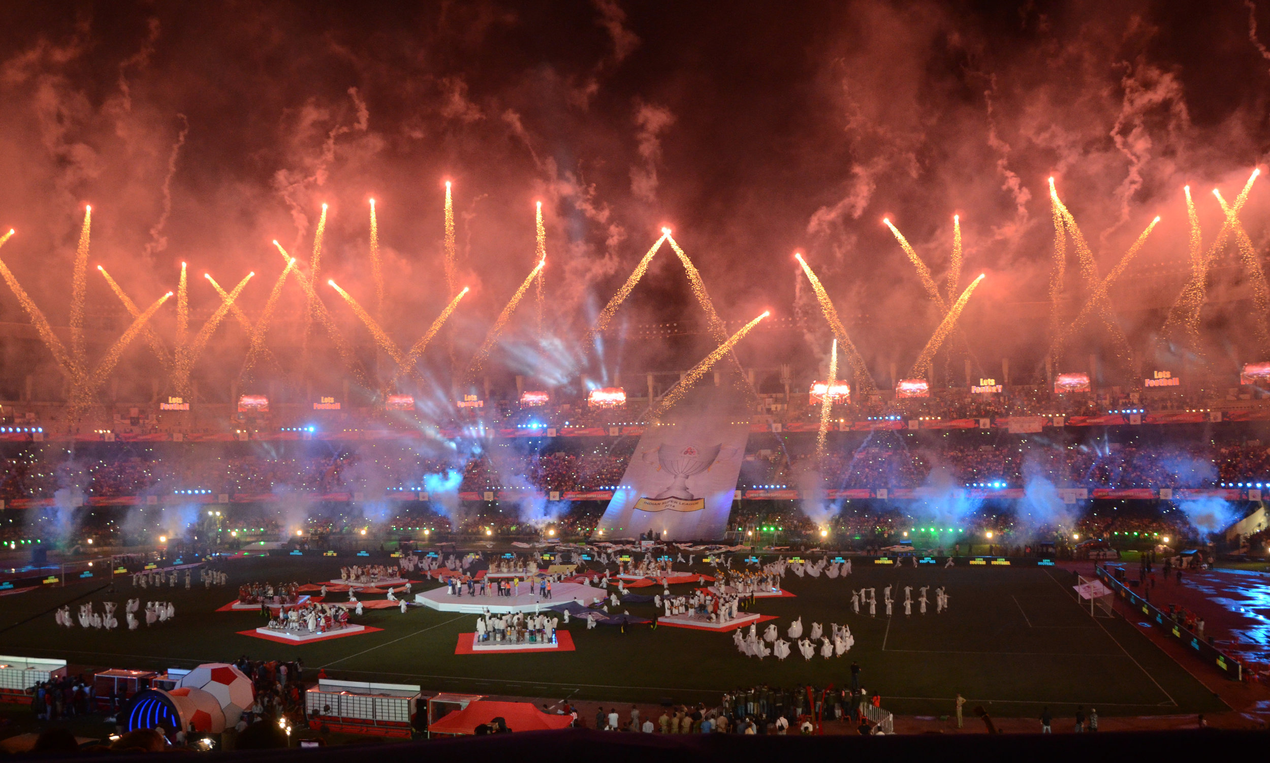Fireworks at the opening ceremony of the Indian Super League in Kolkata in 2014. In its first week, the ISL pulled in over forty million viewers. Photo by Sonali Pal Chaudhury/NurPhoto