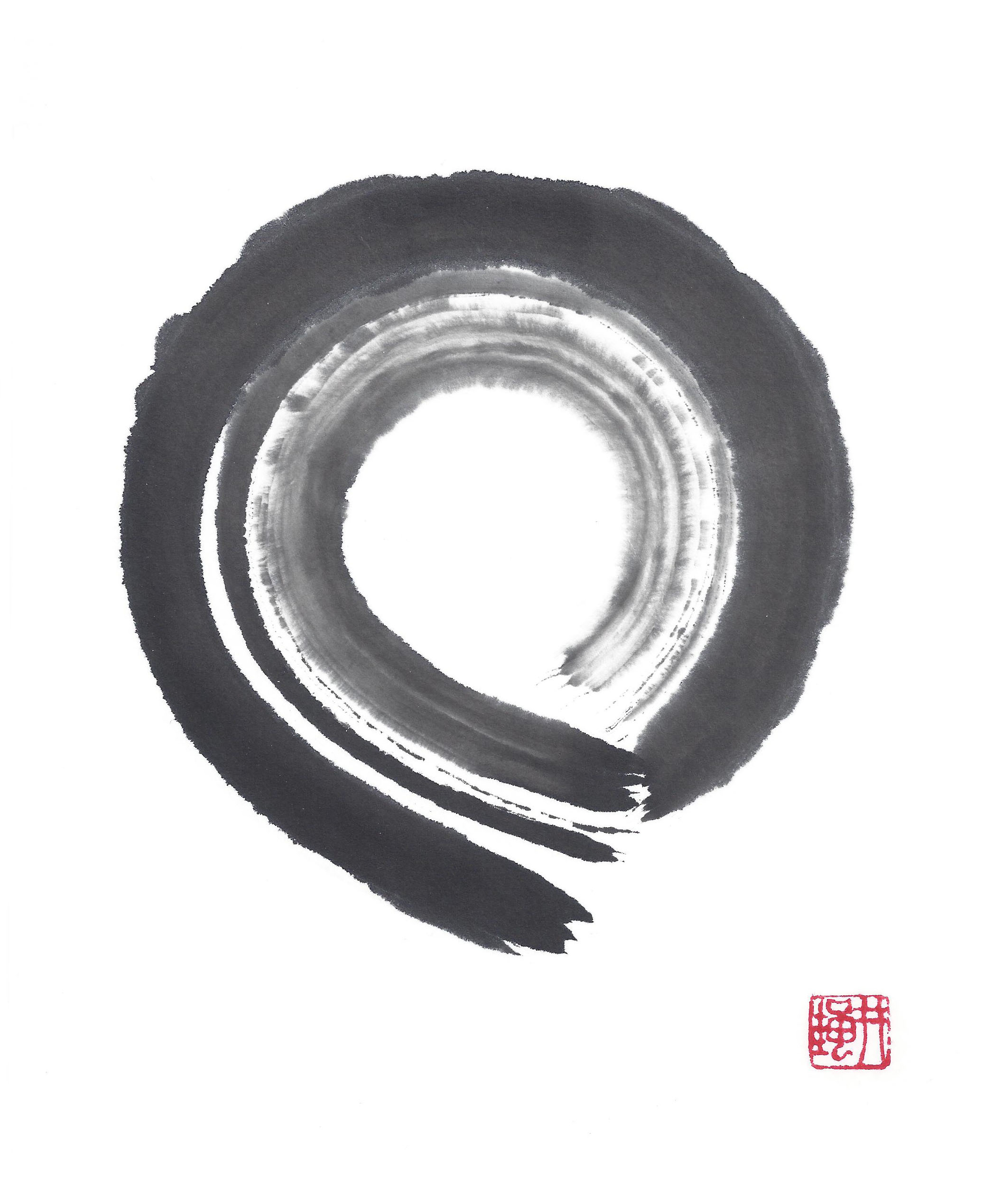 "©Janine Ibbotson, ""Root,"" sumi ink on rice paper,  10 x 8  inches, signed with Well Frog seal, red ink, lower right, 2015."